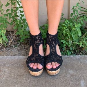 black lace wedges